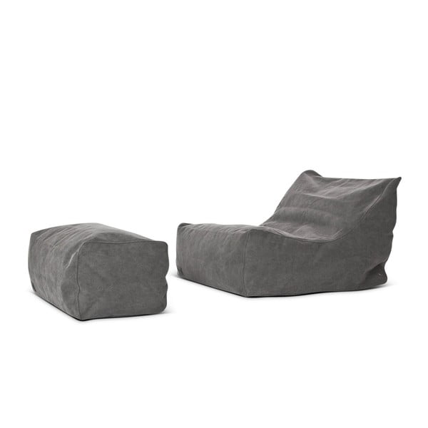 Taburetka na sedenie Lounge Pouf Club Series, tmavo sivá
