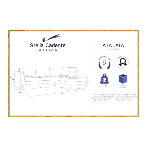 Zelená rohová pohovka Stella Cadente Maison Atalaia, pravý roh