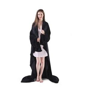 Čierna televízna deka z mikrovlákna DecoKing Lazy, 180×150cm