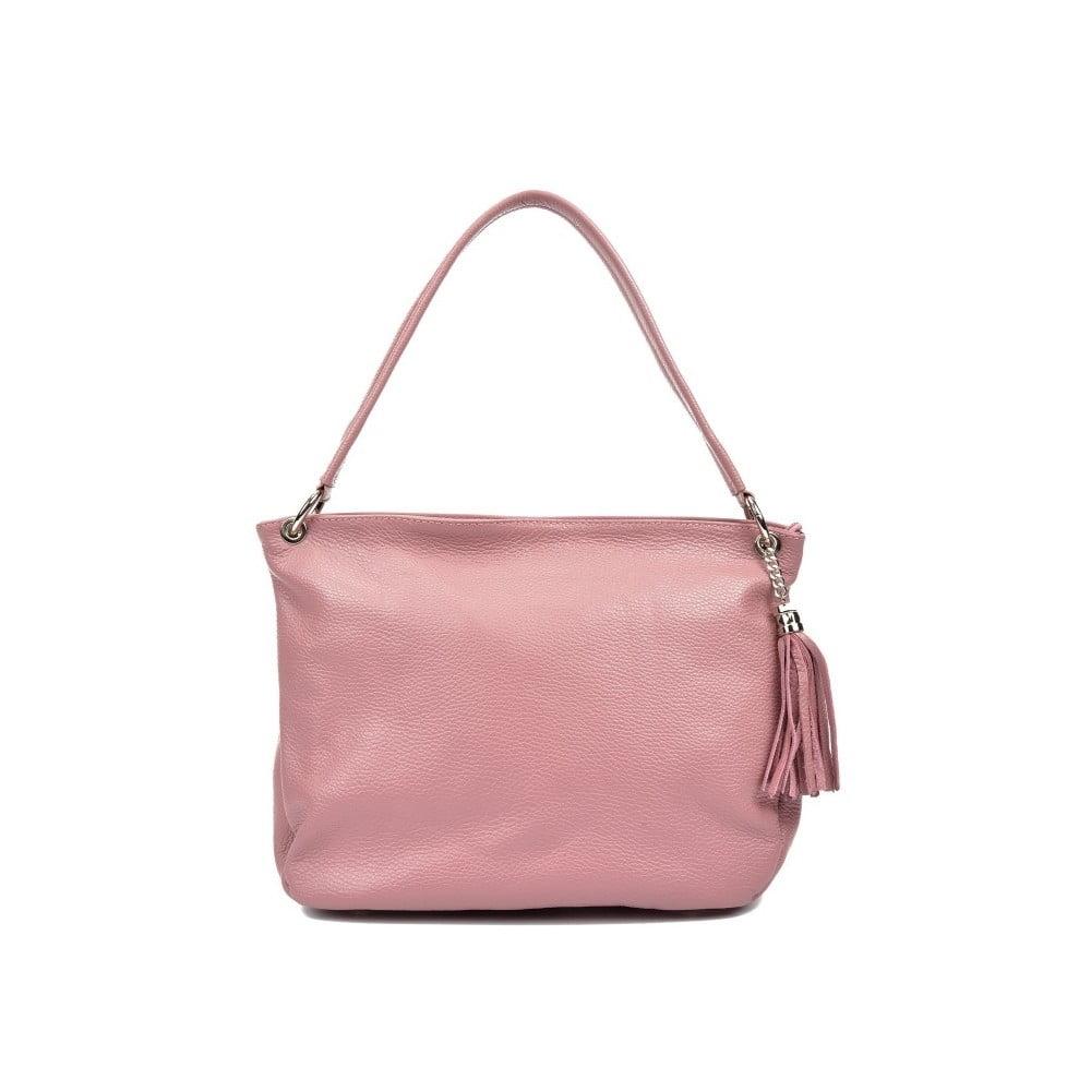 Ružová kožená kabelka Anna Luchini Tote  d63e7d5918d