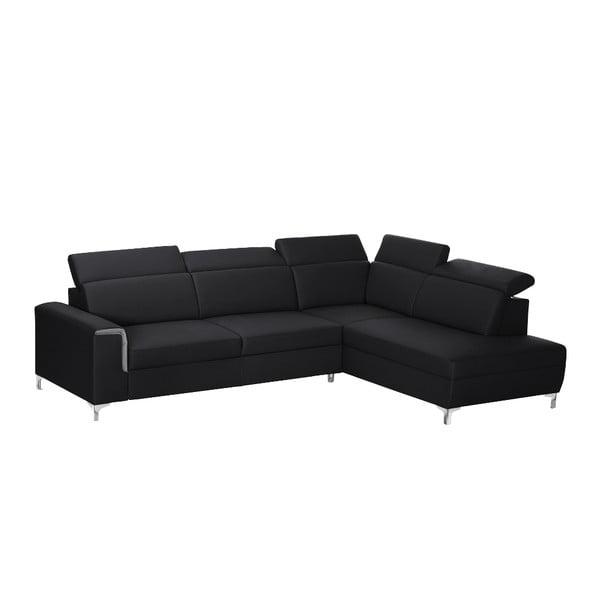 Čierno-sivá pohovka Modernist Serafino, pravý roh