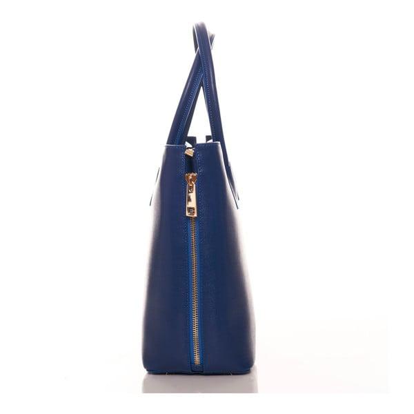 Modrá kožená kabelka Federica Bassi Saffiano