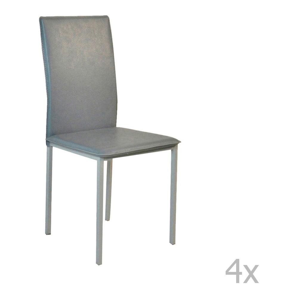 56c90e96aebe Sada 4 sivých jedálenských stoličiek s poťahom z eko kože Evergreen Hous  Villy