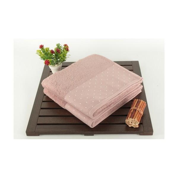 Sada 2 púdrovoružových bavlnených uterákov Patricia, 50×90 cm