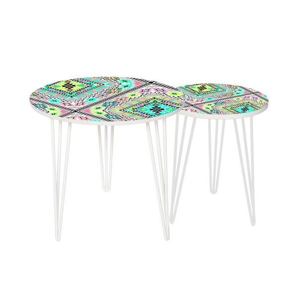Sada 2 odkladacích stolíkov Pastel Tribal, 35 cm + 49 cm
