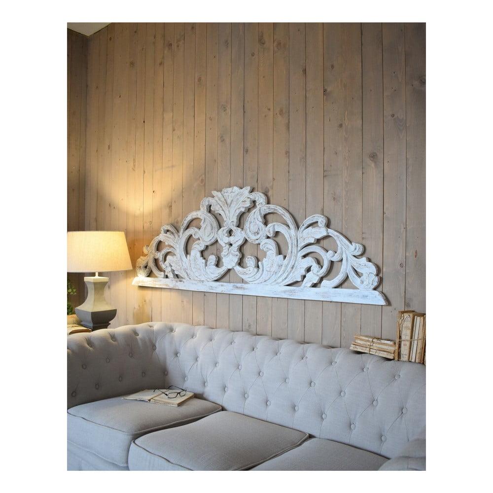 Biele nástenné dekorácie z mangového dreva Orchidea Milano Testata Antique, dĺžka 180 cm
