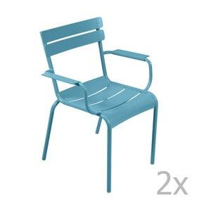 Sada 2 tyrkysových stoličiek s opierkami na ruky Fermob Luxembourg