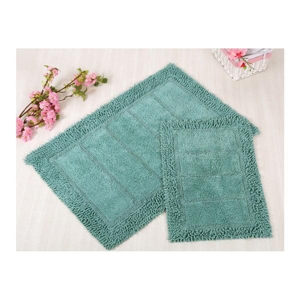 Sada 2 modrých kúpeľňových rohožiek Irya Home Vesta, 60x100 cm a 40x60 cm