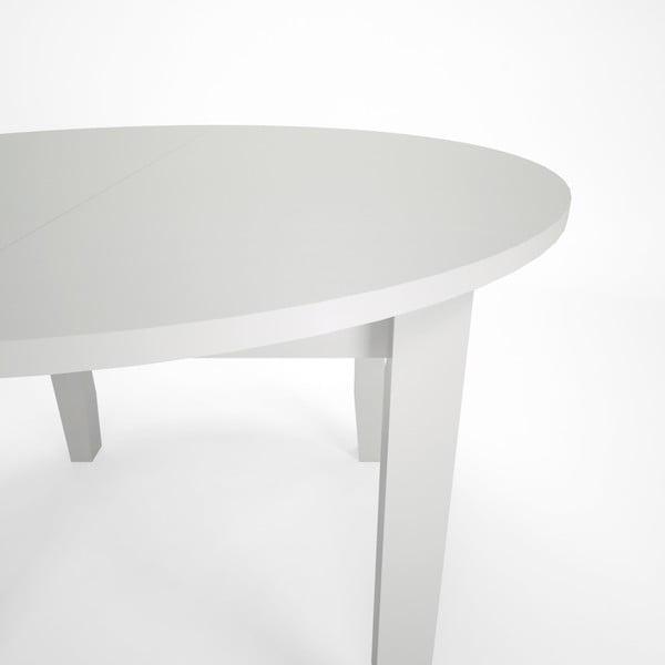 Biely jedálenský rozkladací stôl z bukového dreva Artemob Lass, Ø 110 × 75 cm