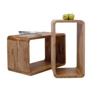Sada 2 políc z dreva sheesham Kare Design Cuben Rectangular