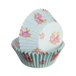 Sada 75 formičiek na cupcakes Floral, svetlomodrá