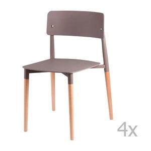 Sada 4 sivých jedálenských stoličiek sdrevenými nohami sømcasa Claire