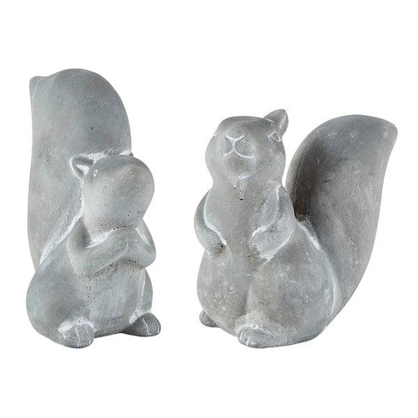 Sada 2 sivých dekoratívnych cementových sošiek KJ Collection Squirrel