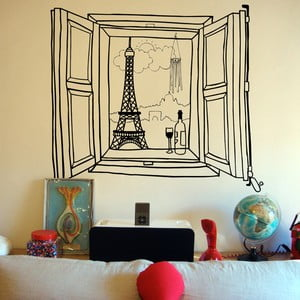Samolepka Paris Window, 110x131 cm