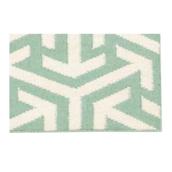 Vlnený koberec Kilim No. 307 Green, 60x180 cm
