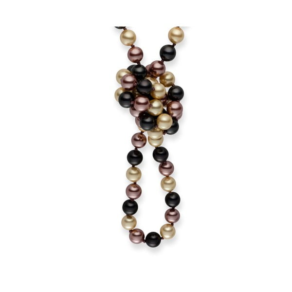 Hnedo-biely perlový náhrdelník Pearls Of London Mystic, dĺžka 90 cm