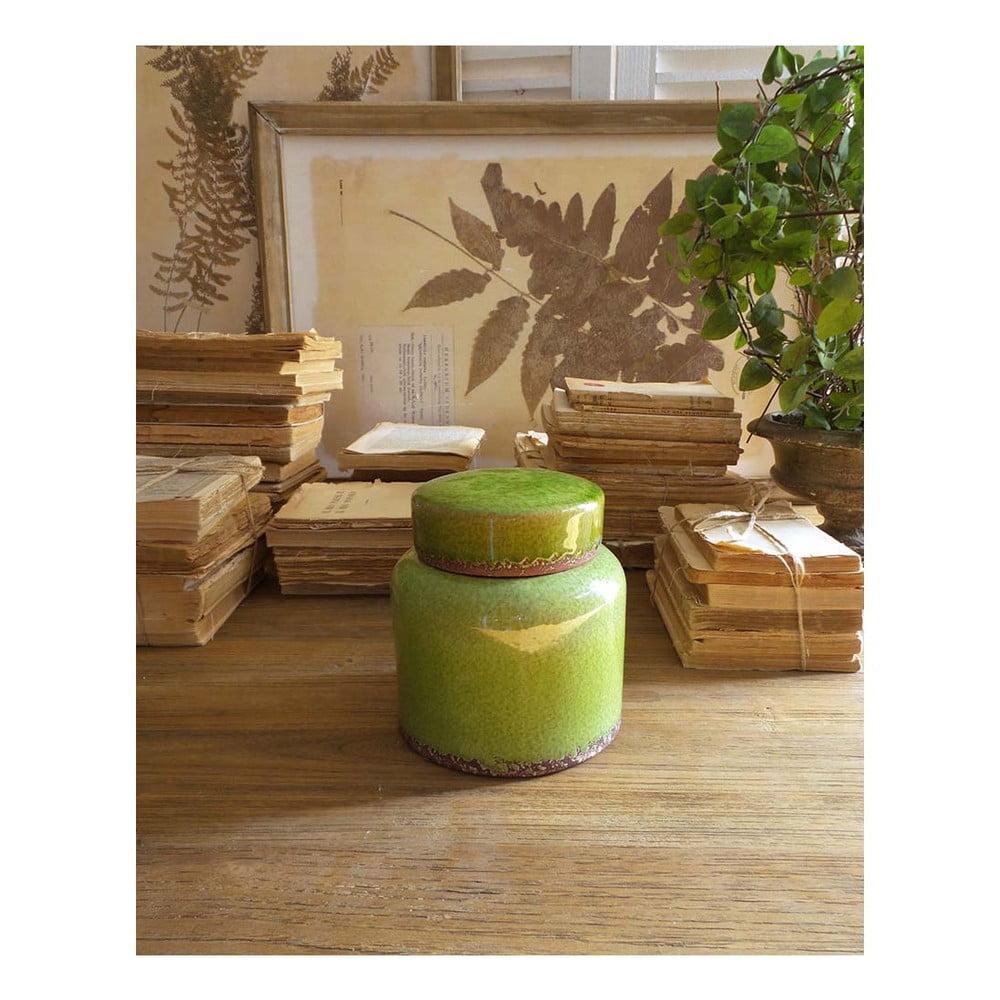 Zelená keramická nádoba s viečkom Orchidea Milano, výška 16 cm