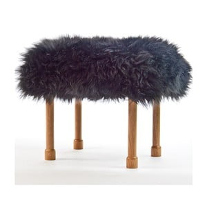 Stolička z ovčej kože Megan Coal Black
