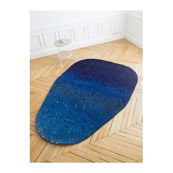 Modrý koberec z čistej vlny HARTÔ Aube, 150×229 cm