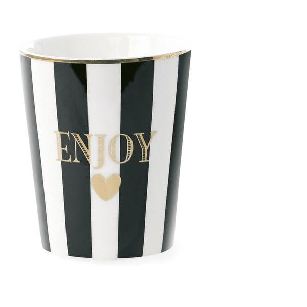 Keramický hrnček Miss Étoile Enjoy Stripe Black