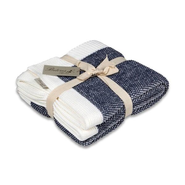 Modro-biela bavlnená deka Couture
