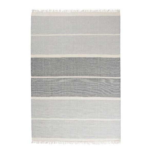 Modrý ručne tkaný vlnený koberec Linie Design Reita, 140×200cm