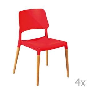 Sada 4 červených jedálenských stoličiek 13Casa Molde