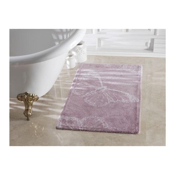 Fialová kúpeľňová predložka zo 100% bavlny Madame Coco Butterfly, 70×120 cm