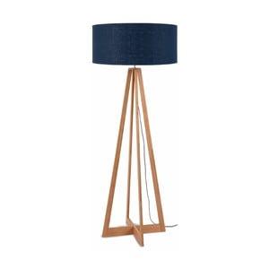 Stojacia lampa s modrým tienidlom a konštrukciou z bambusu Good&Mojo Everest