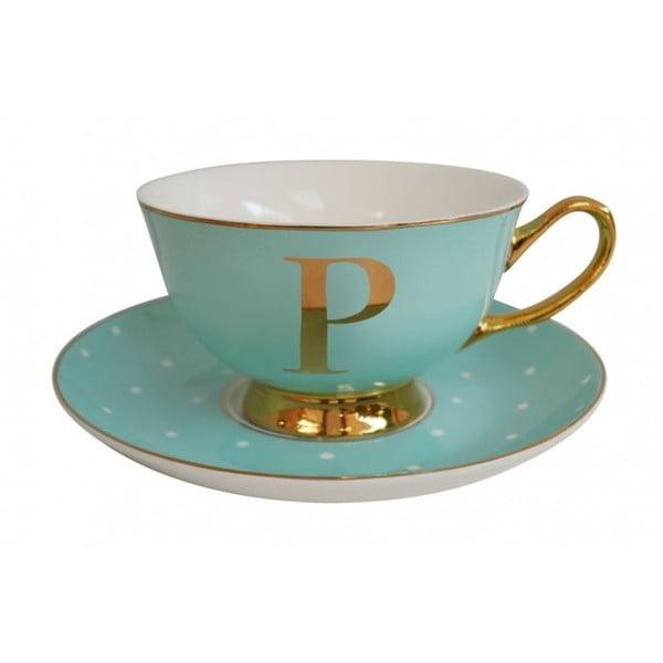 Zelený hrnček s tanierikom s písmenom P Bombay Duck