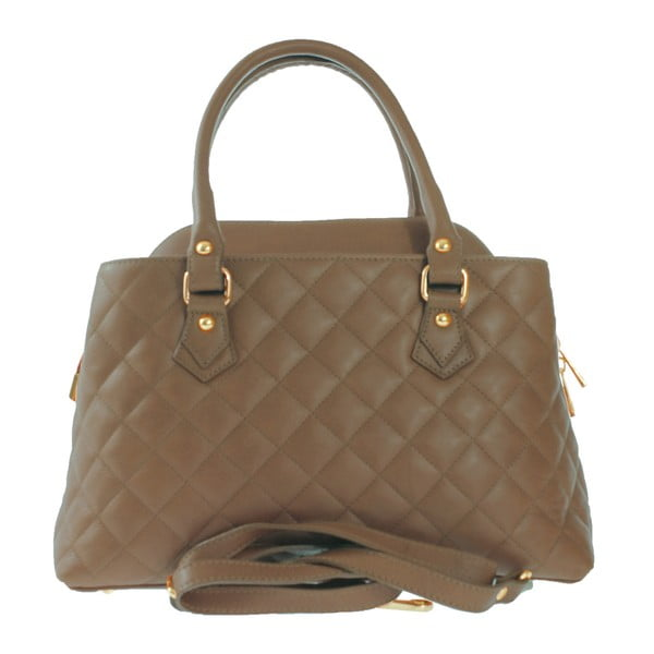 Taupe kožená kabelka Alessandra