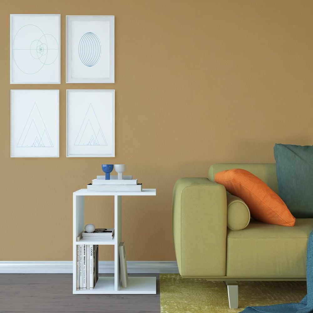 Biely odkladací stolík Artur, výška 55 cm