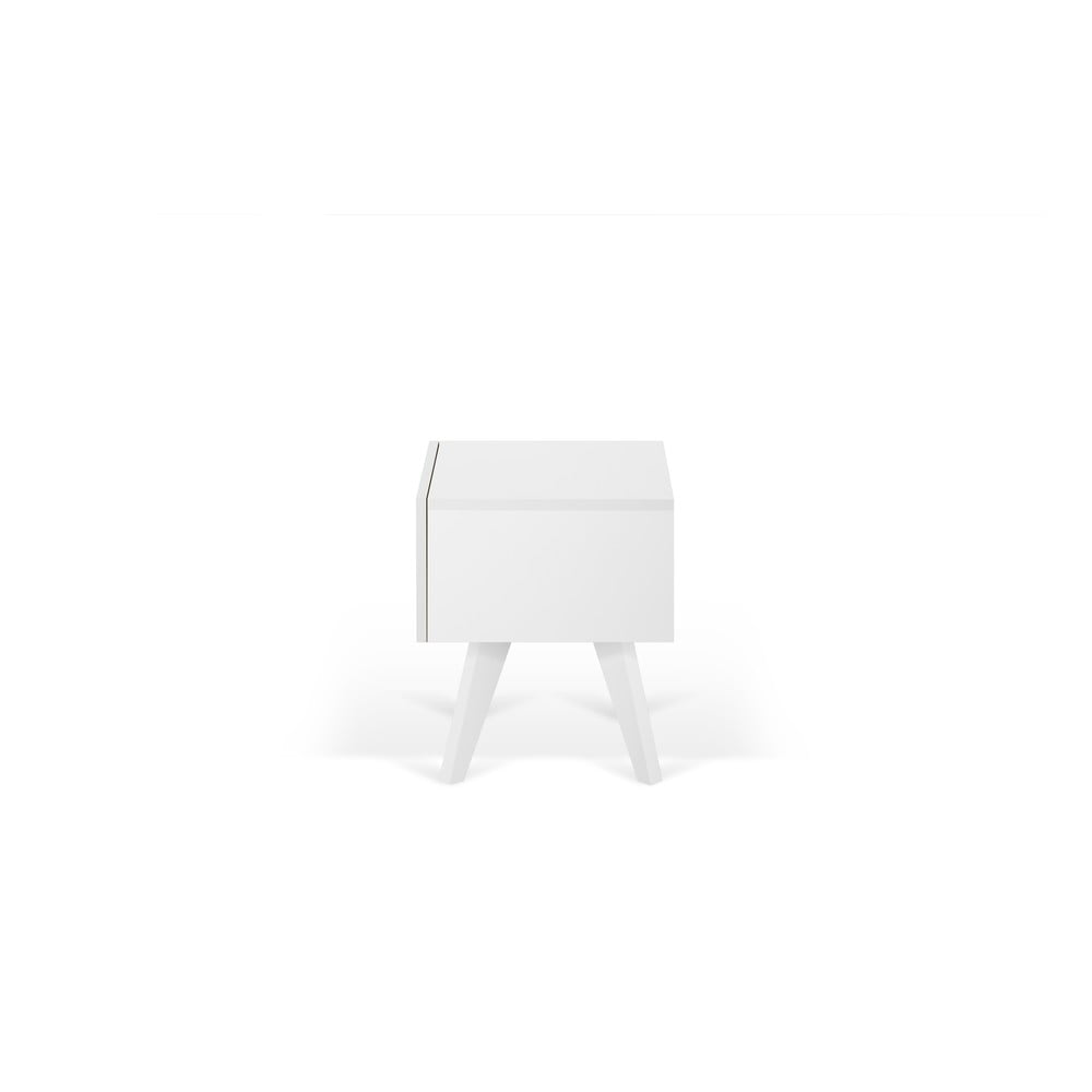 Biely nočný stolík s nohami z masívneho dreva TemaHome Mara, 50 × 51 cm