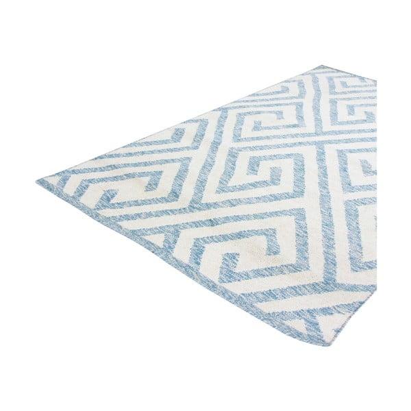 Vlnený koberec Flat no. 69, 100x150 cm, svetlomodrý