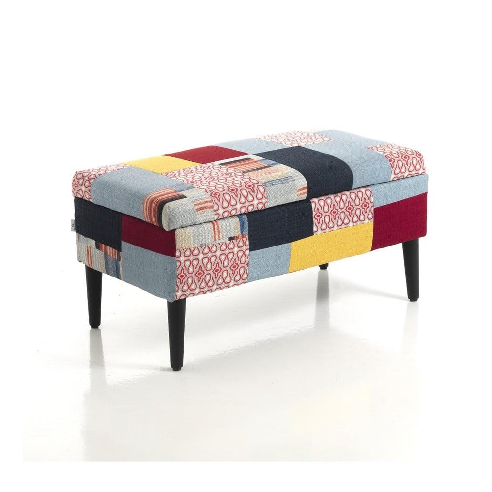 Čalúnená taburetka s úložným priestorom Tomasucci Kaleidos, 40 × 80 × 40 cm