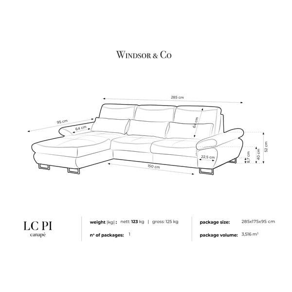 Tyrkysová rozkladacia rohová pohovka Windsor & Co Sofas Pi, ľavý roh