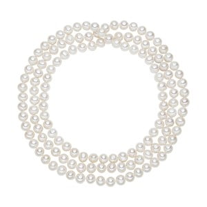Biely perlový náhrdelník Chakra Pearls, 120 cm