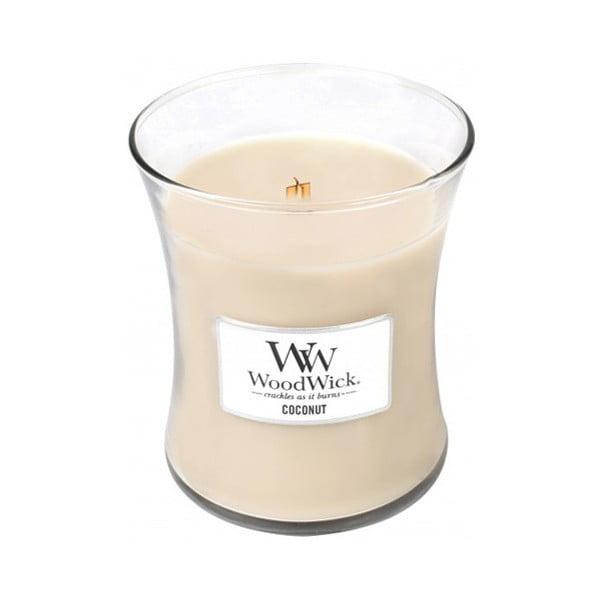 Sviečka s vôňou kokosového mlieka a vanilky Woodwick, doba horenia 60 hodín