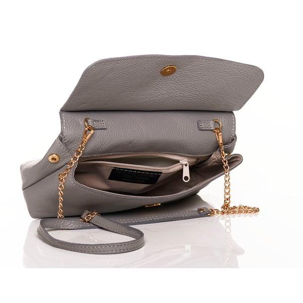 Kožená kabelka Federica Bassi Envelope Grey
