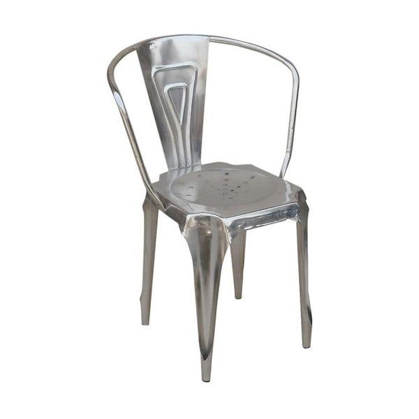 Kovová stolička Fauteuil, strieborná