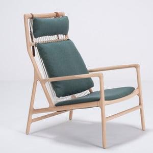 Kreslo s konštrukciou z dubového dreva se zeleným textilným sedadlom Gazzda Dedo