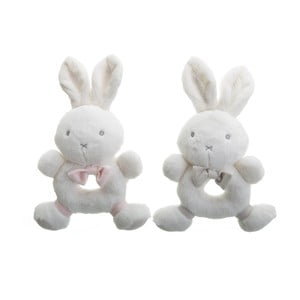 Sada 2 detských bielych pomôcok na hrýzanie Unimasa Rabbits
