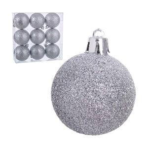 Sada 9 vianočných ozdôb v striebornej farbe Glitter