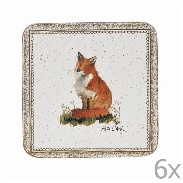 Sada 6 podložiek pod poháre Churchill China Wildlife Fox, 10x10 cm