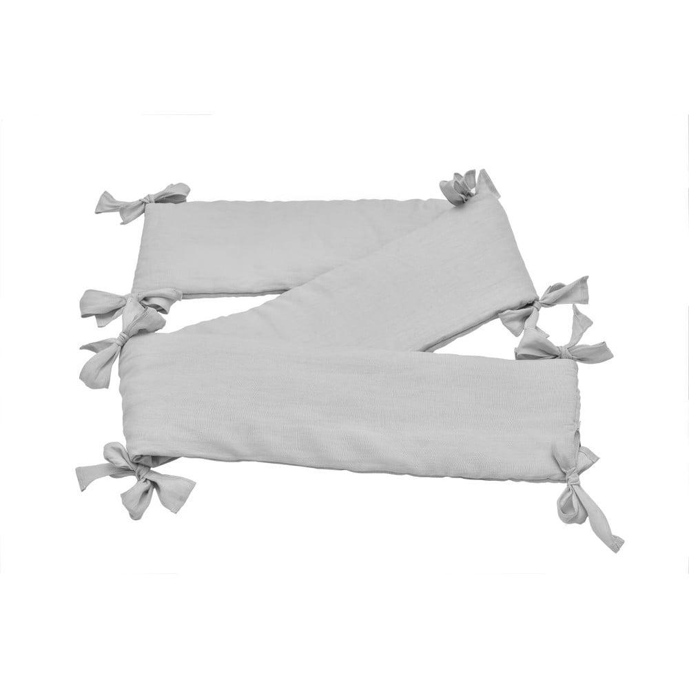 Sivý detský ľanový ochranný mantinel do postieľky BELLAMY Stone Gray, 23,5 × 198 cm