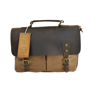 Taupe kožená taška Briefcase