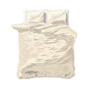 Béžové obliečky zo saténového mikroperkálu na dvojlôžko Sleeptime, 240 x 220 cm