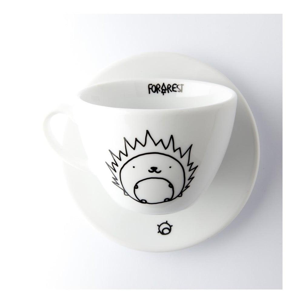Hrnček na kávu s tanierikom FOR.REST Design Hedgehog, 200 ml