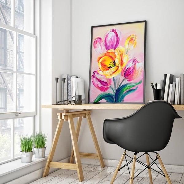 Plagát s tulipánmi, ružové pozadie, 30 x 40 cm