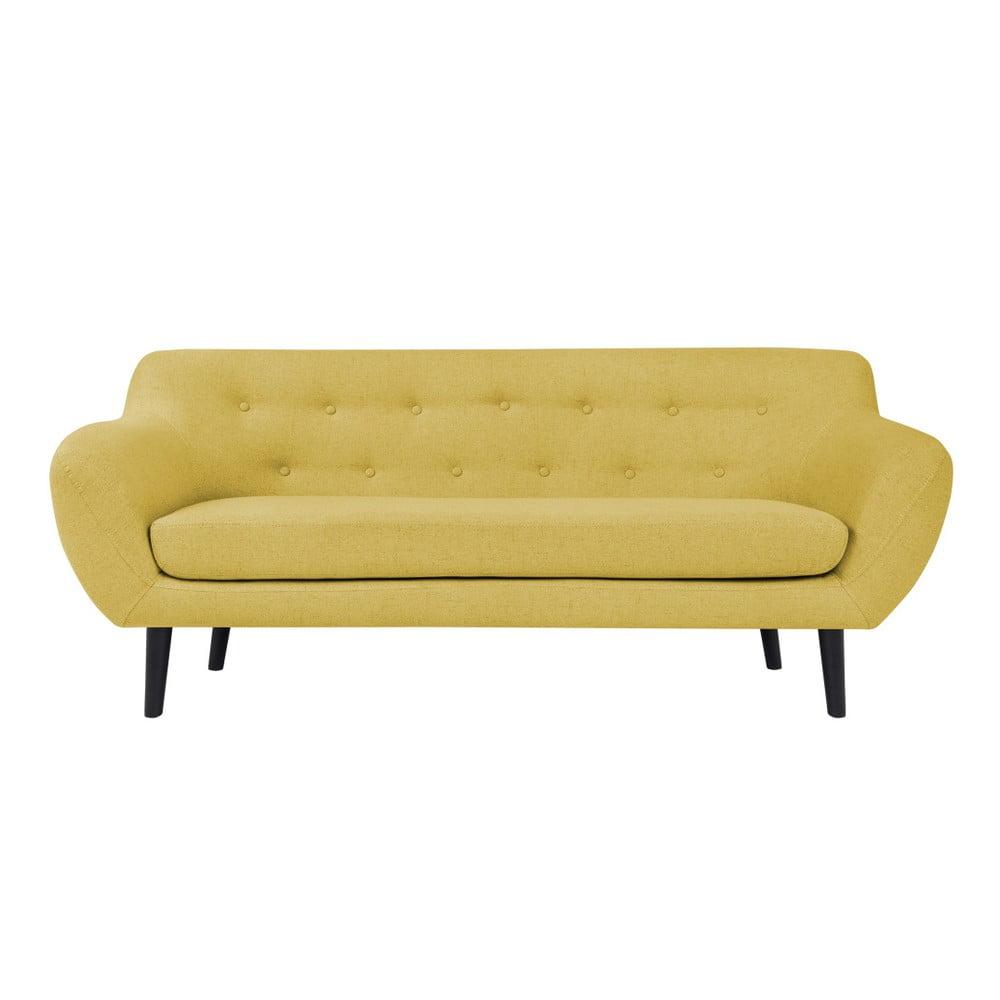 Žltá dvojmiestna pohovka s hnedými nohami Mazzini Sofas Piemont